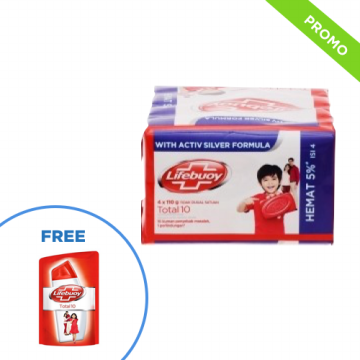 Sabun Mandi Lifebuoy Total 10 4pcs Free Body Wash Refill