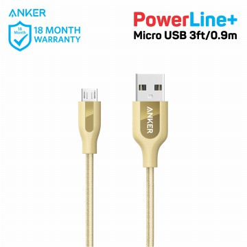Kabel Charger Anker PowerLine+ Micro USB Cable 3ft/0.9m A8142 Gold