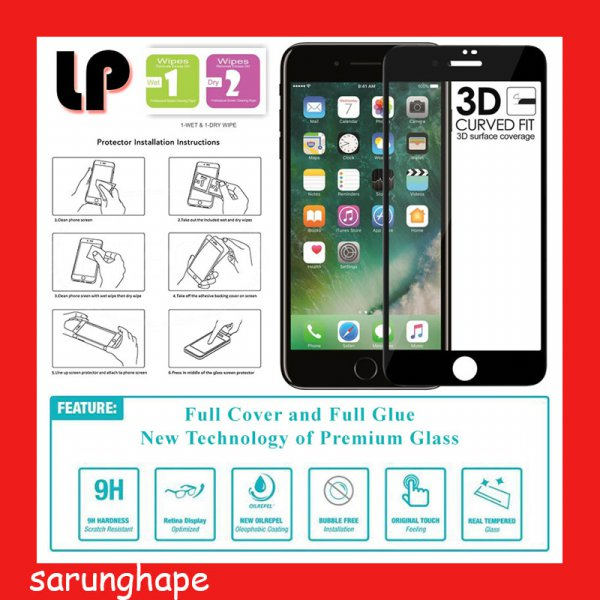 harga IPhone 7 - 8 - LP Full Glue 3D Tempered Glass Antigores elevenia.co.id