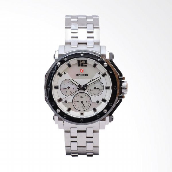 harga Expedition Man White Dial Stainless Steel Jam Tangan Pria - Silver EXF-6402-BFBTBSL elevenia.co.id