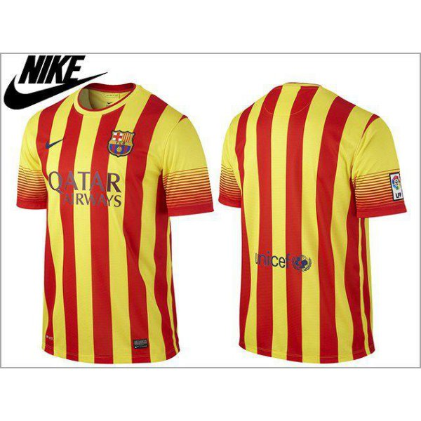 harga Nike Men's FC Barcelona 13/14 Away Jersey Yellow/Red Original 532823-703 elevenia.co.id
