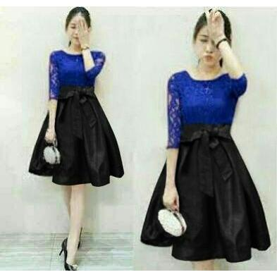 harga Dress (M - Fit L) MEILAN BLUE - Brokat Furing Kombinasi Spandek | TSBUS elevenia.co.id