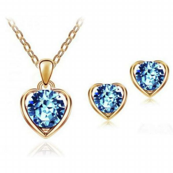 [Free earring gift] Heart crystal necklace + earring set  4 colors(red/dark blue/ocean blue/white)