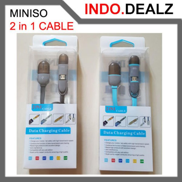 harga Miniso 2 in 1 USB Data Charging Cable Kabel Charger for Handphone PC Laptop Android iOS iPhone Samsung Lenovo Asus Xiaomi Dll elevenia.co.id