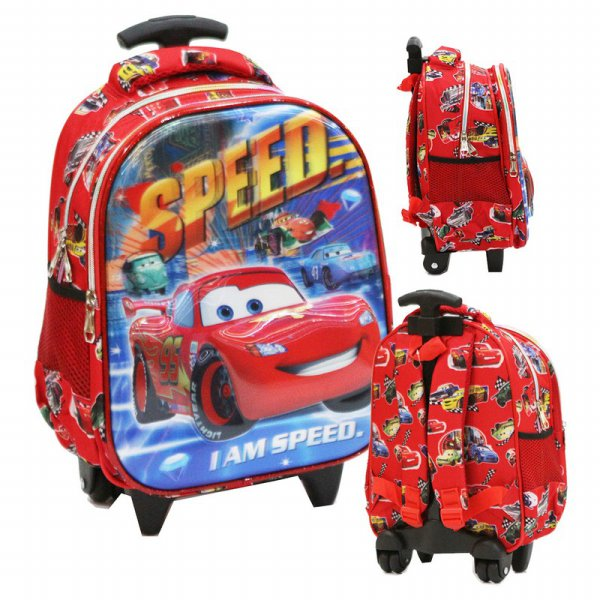 harga Tas Trolley Anak TK Import - Cars MCQueen 5D Timbul Hologram Blue Red elevenia.co.id