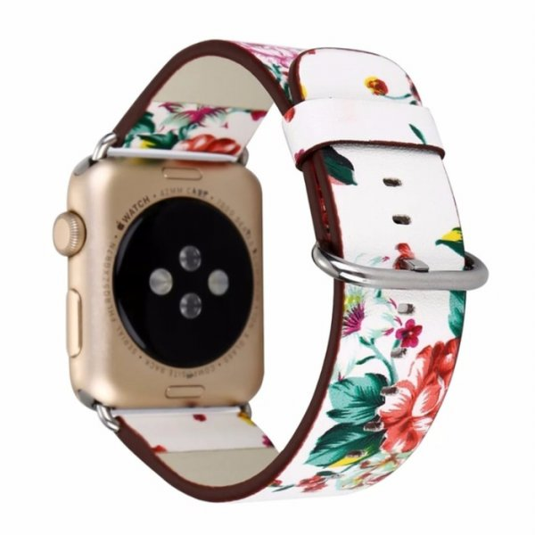 harga Printed Leather Strap Band for Apple Watch 38mm - Floral elevenia.co.id