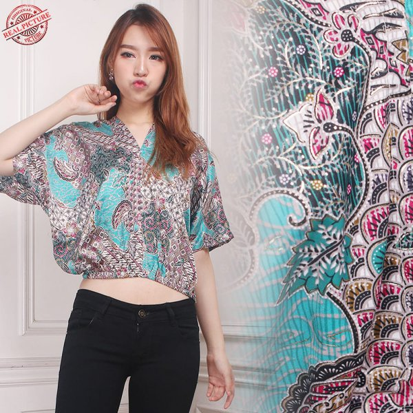 harga Cj collection Atasan blouse batik kemeja wanita jumbo shirt blus Junin elevenia.co.id