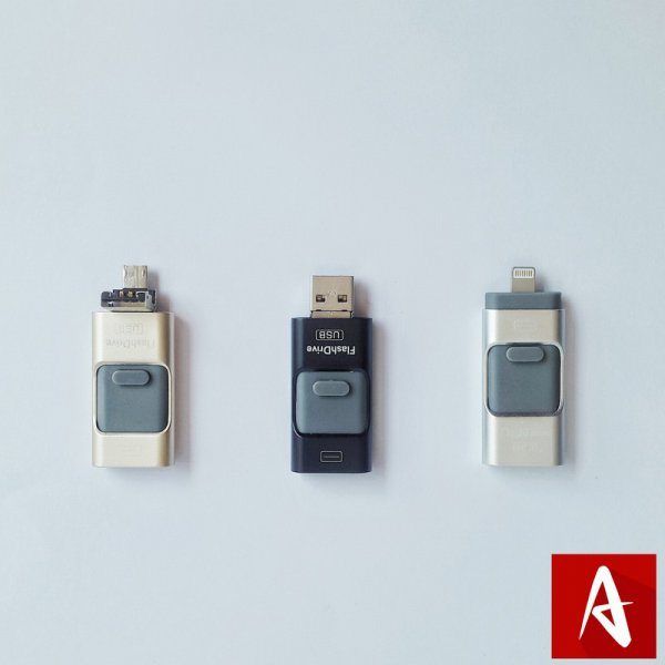 harga Flash Disk Drive Flashdisk Flashdrive USB 3 in 1 Apple Android PC 16GB elevenia.co.id