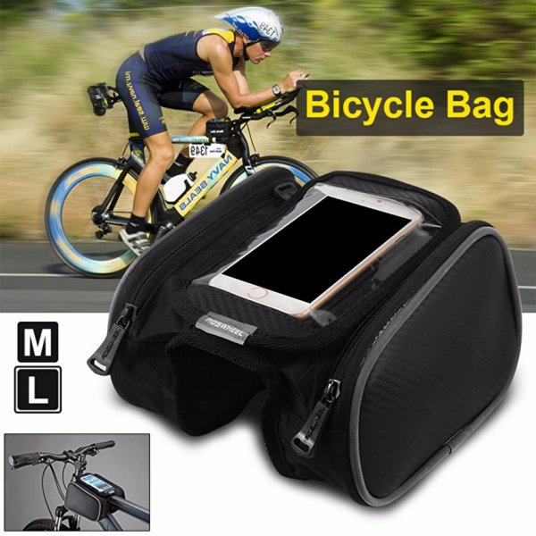 harga Tas Sepeda Roswheel Bicycle Bike Front Pannier Double Bag phone CS369 elevenia.co.id