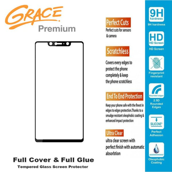 harga Grace Premium Xiaomi Mi 8 SE - Tempered Glass Full Screen - Full Glue - Lis Hitam elevenia.co.id