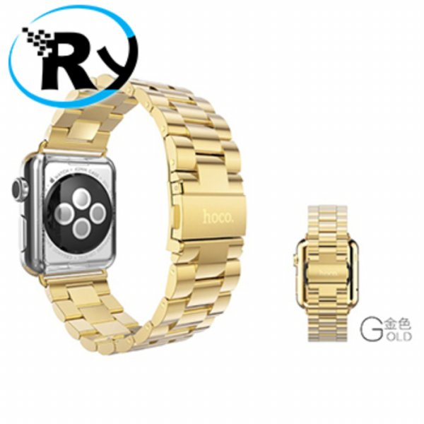 harga (Termurah) Hoco 3 Pointer Style Stainless Steel Band for Apple Watch 38mm Golden elevenia.co.id