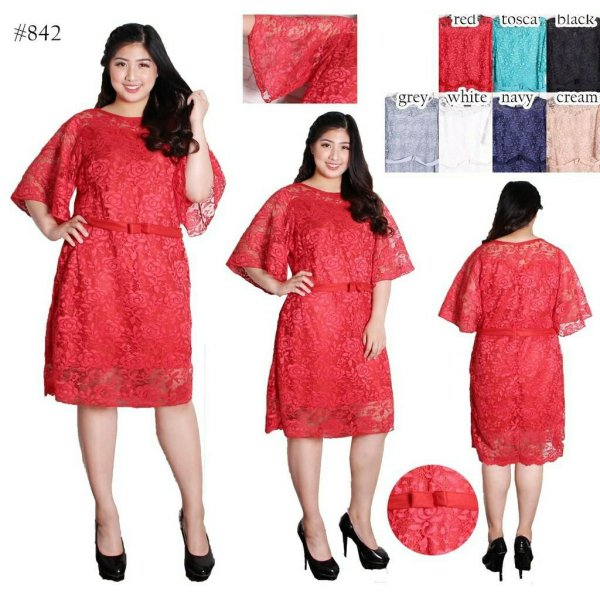 harga BAJU BIGSIZE MURAH - DRESS BROKAT NADA JUMBO (842) elevenia.co.id
