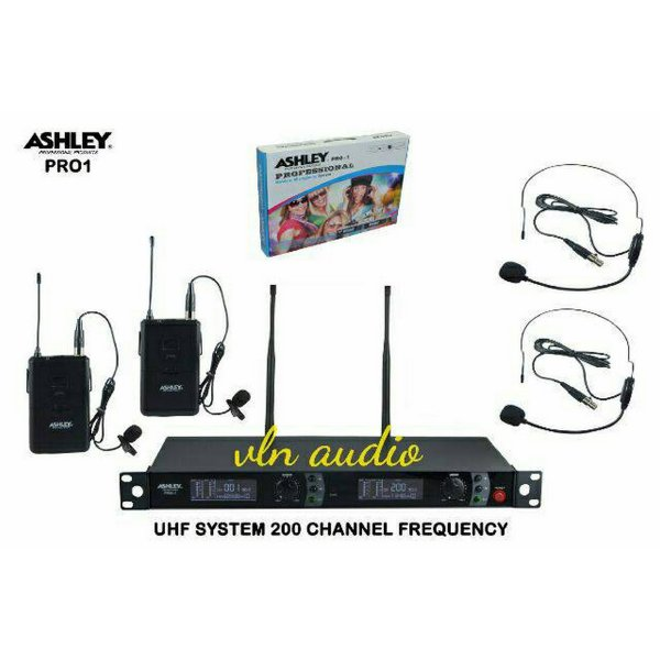 harga Mic Wireless Ashley Pro1  2Bh Clip On+2Bh Headset Bisa Ubah Frequency HargaPrommo05 elevenia.co.id