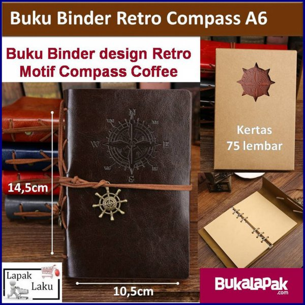 harga Buku Binder Retro Compass Coffee A6 Small elevenia.co.id