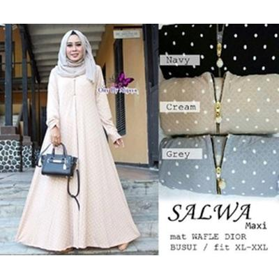 harga Maxi Dress Polkadot Payung Busui Waffle Salwa / Maxi Dress Klok Wafle Murah elevenia.co.id