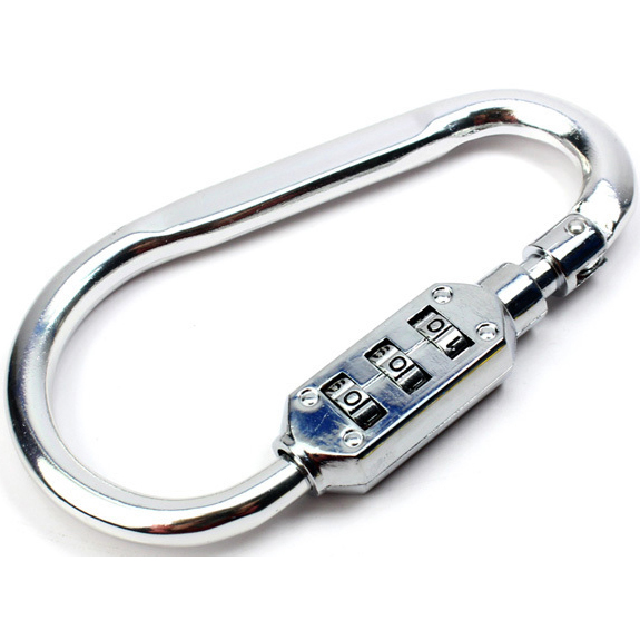 harga Aluminum Alloy D-type Lock Carabiner with 3 Dial Password Padlock - Silver elevenia.co.id