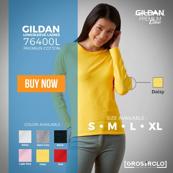 harga GROSIR CLO KAOS POLOS GILDAN LONG SLEEVE LADIES CEWE 76400 L ORIGINAL IMPORT MURAH SIZE S-M-L-XL elevenia.co.id