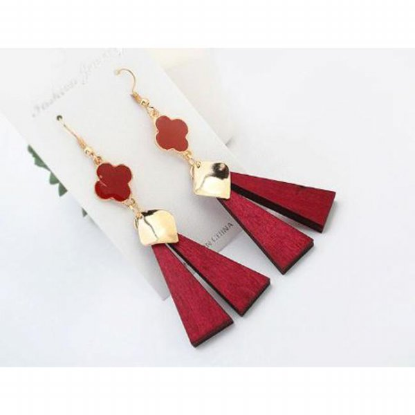 Anting panjang kayu bunga clover tetragon long wood earrings jan106