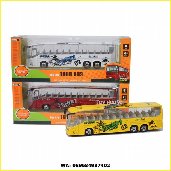 harga Diecast Miniatur Bus - Die cast Metal City Tour Bus Skala 1:43 elevenia.co.id
