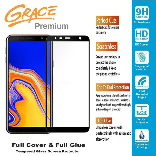 harga Grace Premium Samsung J4+ / J4 Plus / J415 - 6.0 inch Tempered Glass Full Screen - Full Glue - Lis Hitam elevenia.co.id