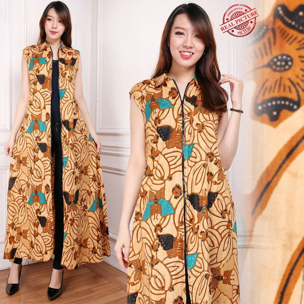 harga Glow Fashion Blazer 2in1 batik dress maxi panjang atasan blouse long tunik kemeja jumbo Elsa M – XL elevenia.co.id