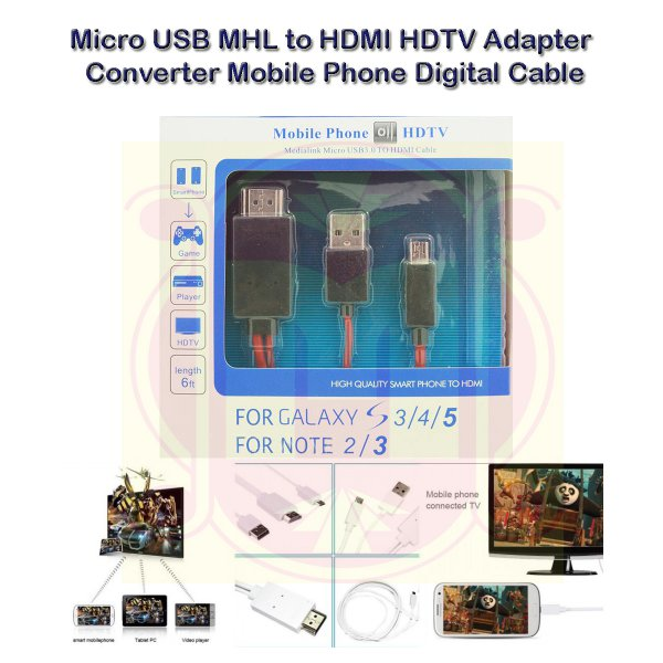 harga Micro USB MHL To HDMI HDTV Adapter Converter Mobile Phone to TV Cable Kabel HDMI Mobile Phone To TV elevenia.co.id