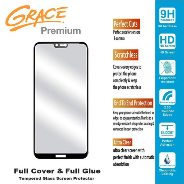 harga Grace Premium Nokia 6.1 Plus / X6 - 5.8 inch Tempered Glass Full Screen - Full Glue - Lis Hitam elevenia.co.id