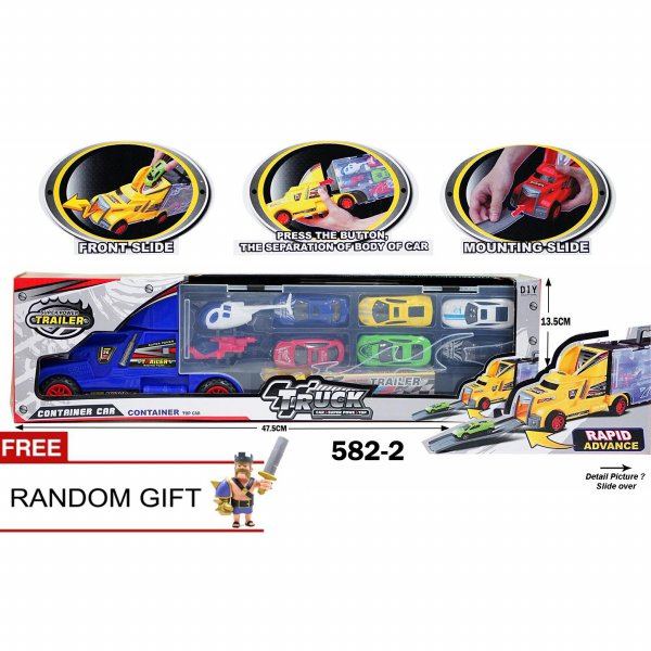 harga MSM Mainan Anak Diecast Mobil Besi Container Set Mobil Isi 6  2 Helicopter 582-2 - Kuning elevenia.co.id