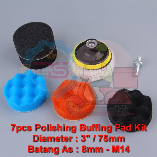 harga TYL 3inch 75mm 7pcs Car Sponge Sanding Wool Polish Wax As 8mm M14 elevenia.co.id