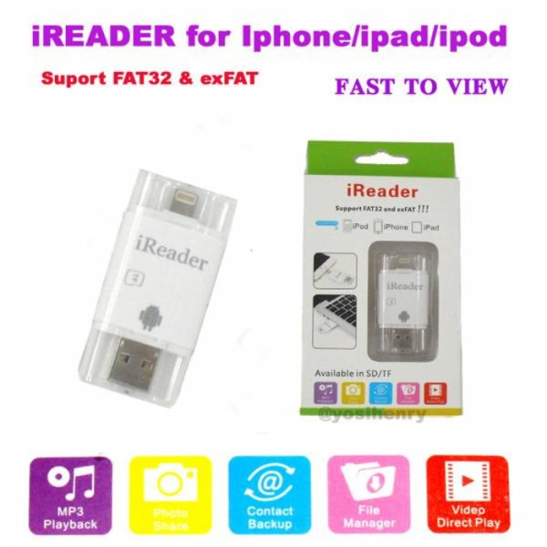 harga IREADER IPHONE IPAD MINI LIGHTNING CARD READER IFLASH I-FLASH MICRO SD elevenia.co.id