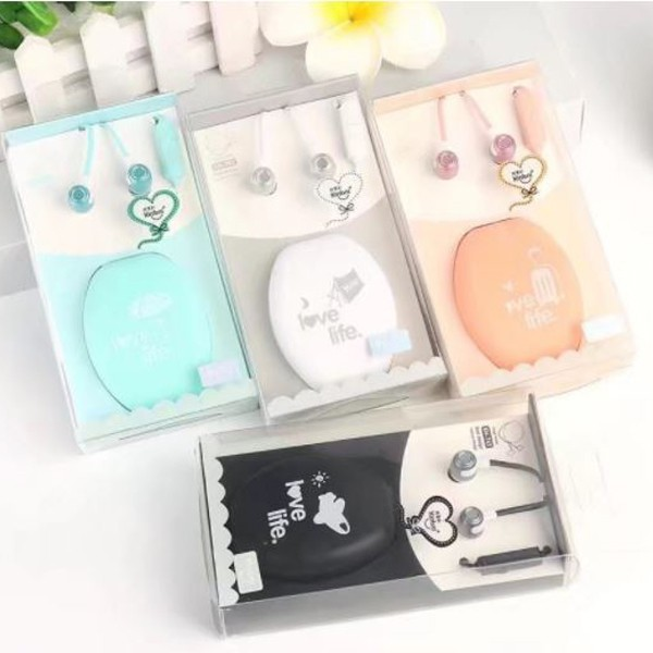 harga MK163 EARPHONE LOVE LIFE LUCU HANDSFREE HEADPHONE UNIK HEADSET SOUVENIR elevenia.co.id