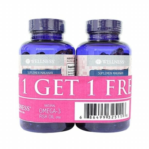 harga Buy 1 Get 1 | Wellness Omega 3 Fish Oil 1000mg 75 softgels |RFRIZ elevenia.co.id