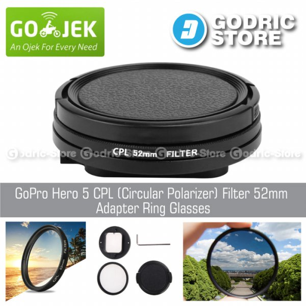 harga [HOT PROMO] GoPro Hero 6 CPL (Circular Polarizer) Filter 52mm Adapter Ring Glasses elevenia.co.id