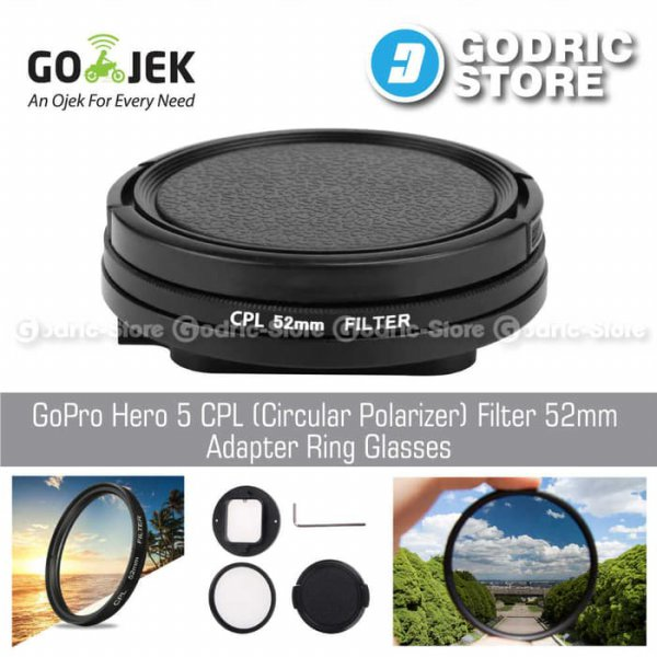 harga [HOT PROMO] GoPro Hero 5 CPL (Circular Polarizer) Filter 52mm Adapter Ring Glasses elevenia.co.id