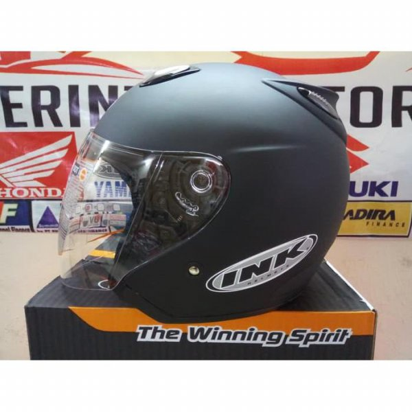 harga HELM INK CENTRO JET SOLID BLACK DOFF THE  WINNING SPIRIT elevenia.co.id