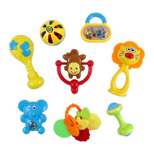 harga [poledit] Liberty Imports Animal Fun 8 Piece Baby Rattle and Teether Toy Gift Set - Colors/12198378 elevenia.co.id