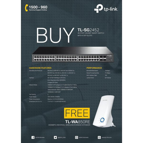 harga TP-Link TL-SG2452 T1600G-52TS JetStream 48-Port Gigabit Smart 4 SFP elevenia.co.id