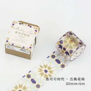 harga Blue Gold Tiles Masking tape - washi tape - selotip kertas motif - 30mm x 5m elevenia.co.id