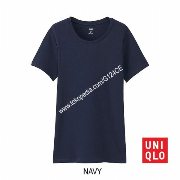 harga [KAOS] KAOS WANITA UNIQLO SUPIMA COTTON CREW NECK 180691/163142/182168 NAVY elevenia.co.id