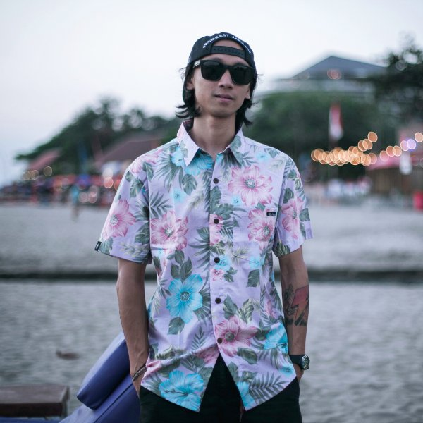 harga FREEBIRD HAWAIIAN SHIRT PURPLE / KEMEJA PENDEK PANTAI HAWAII elevenia.co.id