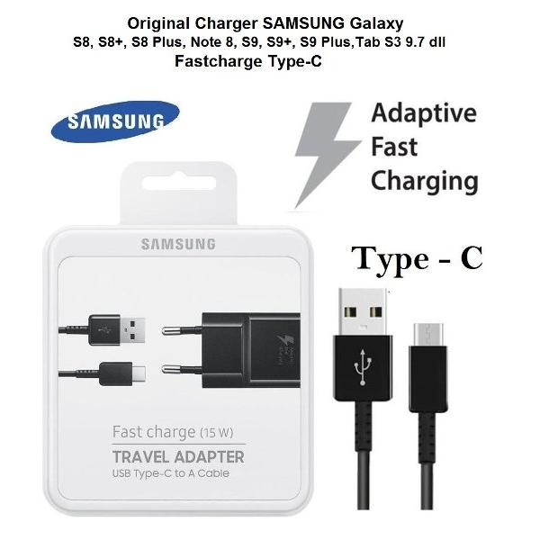 harga Original Charger SAMSUNG Galaxy S8  S8 Plus  Note 8 S9  S9 Plus  A8  A8 Plus 2018  Fast Charge   15W  Travel Adapter EP TA20EBE with USB Type C Cable elevenia.co.id