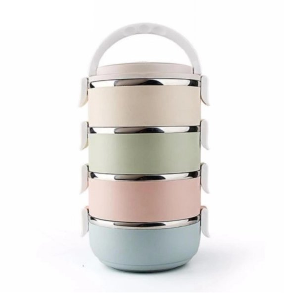 harga LUNCH BOX 4 LAYER STAINLESS STEEL - RANTANG GLOSSY elevenia.co.id