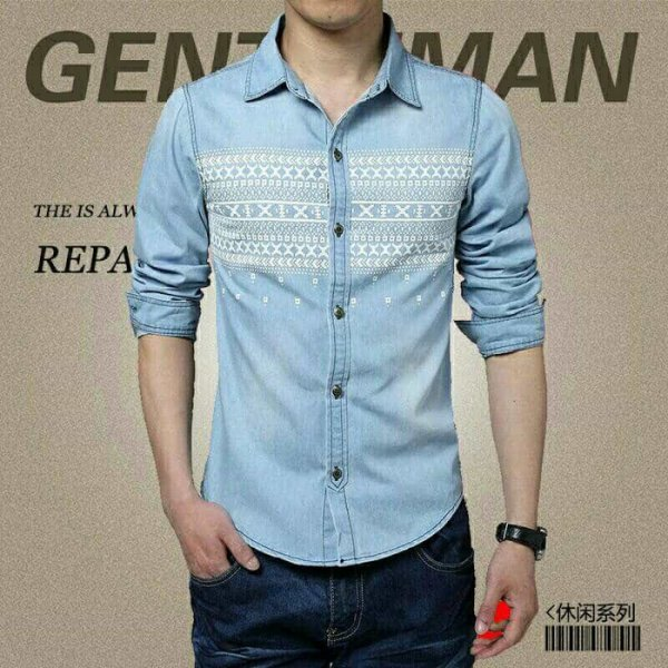 harga BT9983 Denim Tribal Man Kemeja elevenia.co.id