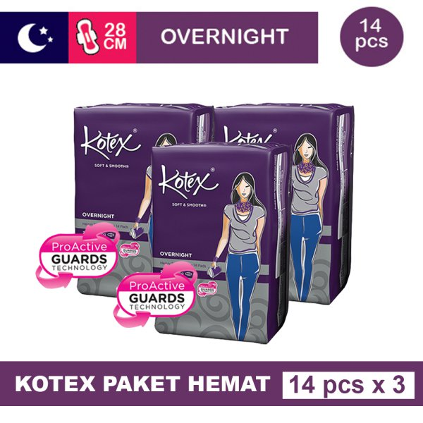 harga 3 PACK KOTEX SOFT & SMOOTH OVERNIGHT WING 28CM ISI 14 elevenia.co.id
