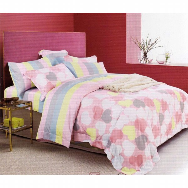 harga Sleep Buddy Set Sprei dan Bed Cover line heart Organic cotton Extra King Size elevenia.co.id
