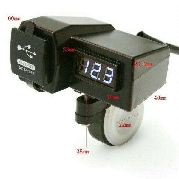 harga Voltmeter Digital dan Charger 2 socket USB Model Jepit Stang Motor elevenia.co.id