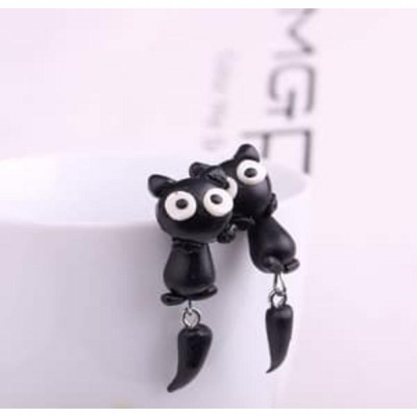 harga Black Cat Polymer Clay Earrings Anting Kucing SJ0059 elevenia.co.id