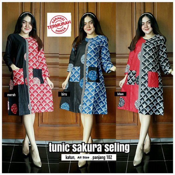 harga Atasan Dress Tunik Batik Sakura Seling| Dress Kantoran elevenia.co.id