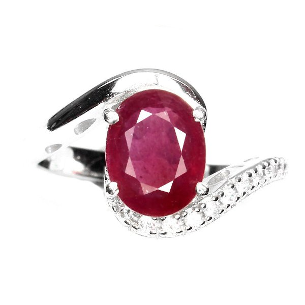harga Elegant Oval Cut 9x7mm Top Blood Red Ruby White Cz 925 Sterling Silver Ring 6.5 elevenia.co.id