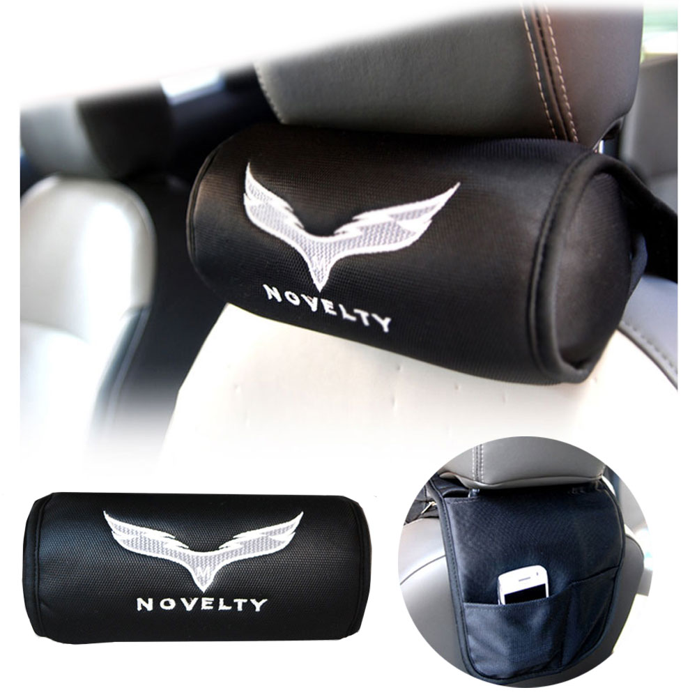 Novelty Multi Car Seat Kepala Leher Istirahat Cushion Pocket Mesh Fabric Lembut Headrest